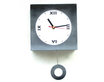 NO TICKING / QUIET Wall clock Pendulum clock, Shaded clock Grey Black, 11 inch long, Silent Wood Wall Hanging Clock, Spring birthday gift
