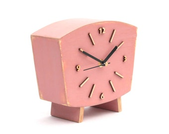 NO TICKING Pastel Rose Clock Table, Wood Desk Clock, Shabby chic Distressed Mantel QUIET clock, Powder Pink decor, Dusty lilac Pink for her