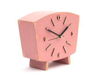 Pastel Pink Wood Desk Clock, Rose Table Clock, Shabby chic Distressed Mantel clock, Powder Rose decor, Dusty Lilac Rose nature inspired