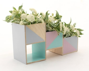 Wooden herb planter, Pastel Mint Gray Pink Handpainted Windowsill Flowerpot, Succulent Planter, Box for Herbs, Pastel flower plant garden