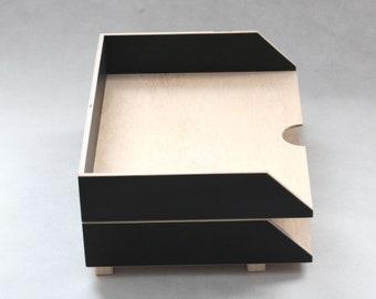 Wooden Paper Tray Holder, Desk Oganizer Mail, Desk Office Accessories, 2 Stages Document trays, Office Sorter, Stackable desk set A4 paper