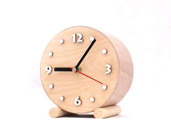 Small Wood Table Clock circle, Desk Wooden clock, School clock, Natural wood for home, Nature decor,  Winter sale
