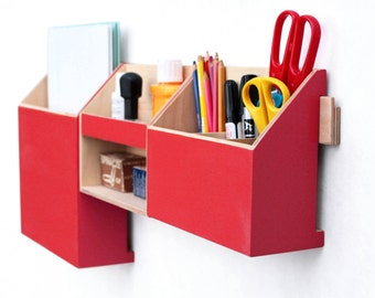 Wall Organizer Wood Red, Office Mail Wall Set, Pen holder, Office Mail box, Wooden home Desk organizer, Desktop storage set, Wall Red box