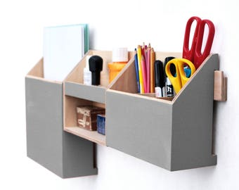 Gray Wood wall organizer, Grey Mail Wall set, Gray Wood Desk Organizer, Remote Office Accessories, Pen holder, Home Office Command Center