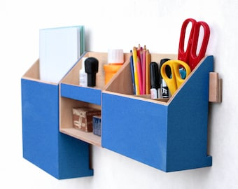 Office Wall Organizer Blue, Desk Accessories for office, Modern Blue Mail organizer, Wall Office Paper organizer, Desk command center set