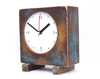 Desk Clock Brown Gold Turquoise, Wooden Table Clock, Unique Square Wood Clock, Wooden Shaded clock,Summer decor
