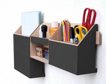 "Wall organizer Wood Black Acrylic Paint, 0ffice Command Center 27"" x 11"", Office accessories, Mail Organizer, Pen holder, Desk organizer set"