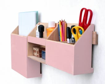 Pink Wall Organizer office, Rose Powder Mail organizer, Pink Desk Organizer, Wood wall set, Paper and Pen holder, Student Desktop, Tidy desk