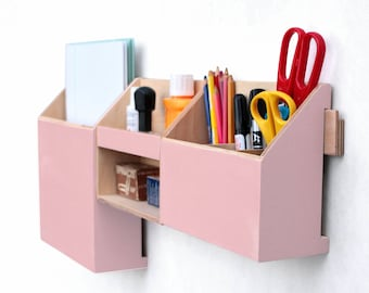 Pink Wall Organizer, Mail organizer, Desk Accessories for office, Powder Pink Desk Organizer set, Paper Pen holder, Office Command Center