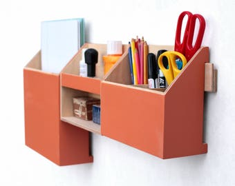 Wall Wood Organizer Orange, Home Office organizer storage, Wood holder, Office Mail Storage set, Control Holder, Remote work office gift