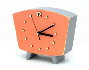 Table clock, Wood Clock Orange Black, Desk Wooden clock, Vintage style, Gray Orange decor, Spring trends, Pumpkin clock, Summer decor
