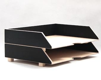 Black Paper Tray Holder, Wood Desk Oganizer Mail set, Desk Office Accessories, 2 Stages Document trays, Office Sorter, Stackable desk set A4