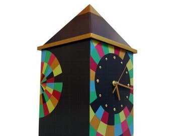 NO TICKING Wood clock, Hand pained Big clock, Decorative Table clock, Huge 17 Inch height, Quiet / Silent clock, Wedding gift for couple