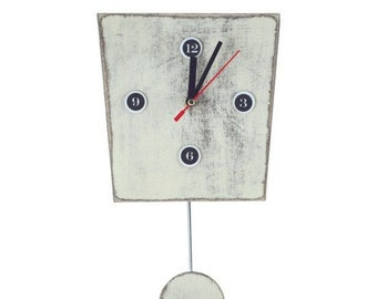White Wall Clock Pendulum, Wall decor Pendulum clock, Wood Wall clock handmade Distressed, Wedding and Birthday gift,  White decor rustic
