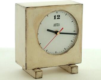 Table clock White, Home decor White Unique Wood Clock, Wooden Clock White, Desk clock Vintage style, Summer home decor, Shabby chic,