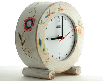 NO TICKING White Desk clock circle, SILENT/ Quiet Folk Art Table Wood Clock, Flowers ornament, Spring decor,  Wedding gift, Desk decor clock