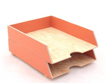 Orange Desk Organizer Paper tray  2 Stages, Desk set, Desk Tray Wood Office Accessories, Letter sorter, Pumpkin Orange Paper organizer