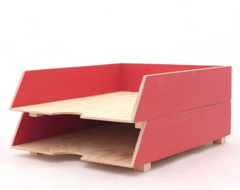 Desk Organizer Paper tray Red 2 Stages,  Wood Tray, Red Desk set, Office Accessories, Paper sorter, Paper storage red organizer, School desk