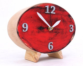 Wood Desk Clock, Ellipse Handmade Distressed clock, Eco Friendly Black Red Silver Acrylic Paints, Vintage style Table Inspiration