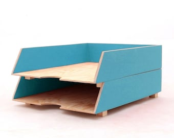 Wood Turquoise Paper Oganizer Tray, Tabletop Mail Holder, Turquoise Office Accessories, 2 Stages Paper tray stackable, Office desk tidy