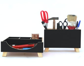 Wood Desk Organizer set Black Acrylic painted, Office Desk Accessories in Black decor, Back to school, Pen holder for kids desk