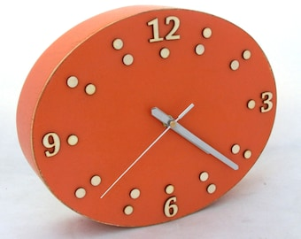 FREE SHIPPING Orange Wall Wood Clock, Ellipse Tangerine  Oval Clock, Orange decor, Birhtday / Wedding gift ideas, Office wall decor