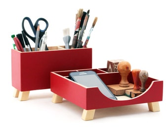 Red Desk Organizer, Desk Accessories for office, Desktop Organizer, Red Wood Desk set, Desk Pen holder, Command Center, Tidy Kids desk set