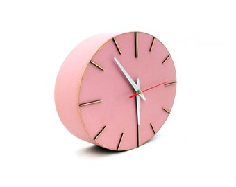 Wall Clock FREE SHIPPING, Powder Pink Wood clock, Wall clock Rouge, Wall hanging ellipse, Pink wall decor, Wall clock with silver hands