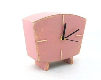 Table clock Pink, Dusty pink Handmade Wood Desk clock, Vintage Style,Wedding gift, Unique home decor, Birthday gift, Pink decor