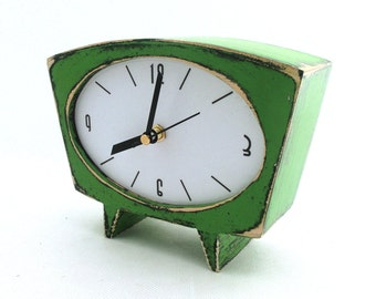 Acrylic Paint Desk Green Clock , Wood Table clock in Vintage Sixty style, Handmade Wedding gift, Green home decor for Mothers day
