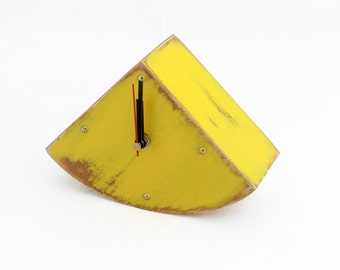 Wood Desk Yellow Clock, Table Clock Handmade  Wooden Clock, Gold points Sun clock, Yellow decor
