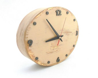 Tan Beige Wall clock, Ellipse Wall hanging clock, Back to school, Office decor, Wood Unique clock, Decor for kitchen, Wedding gift ideas
