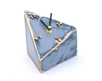 NO TICKING Wood Desk Clock Spicy, Triangle Table clock Geometric, Unique gift, SILENT / Quiet, Blue Grey clock, Distressed clock, Blue decor