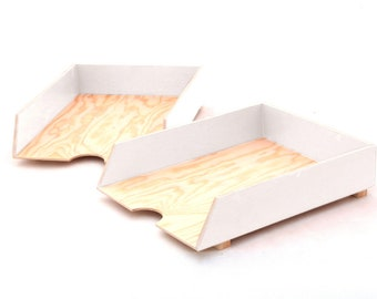 White Paper Tray Holder, Wood Oganizer Mail set, Desk Office Accessories, 2 Stages Mail Tray, White Paper Sorter, Wood tray stackable