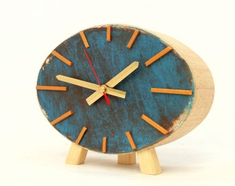Table Clock, Wood Clock,  Ellipse clock, Turquoise  Brown Gold, Vintage style, Desk Gold clock, Unique gift home decor , Autumn trends