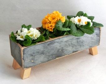 FREE SHIPPING - Wooden Planter, Windowsill Flowerpot, Herb Planter Kitchen, Spring Planter, Home garden, Herb garden ,Spring garden