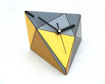 Yellow Desk Clock, Wood Unique gift, Table clock, Geometric Triangle Yellow Grey for desk, Birthday Wedding gift home decor, Summer trends