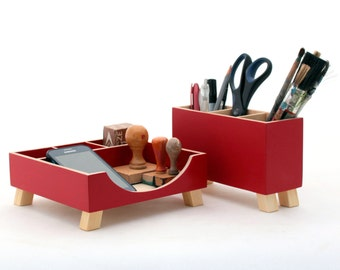 School Red Desk Organizer, Desk Accessories for desk, Wood Office Desktop Organizer set, Red Pen holder, Command Center, Tidy Kids desk set