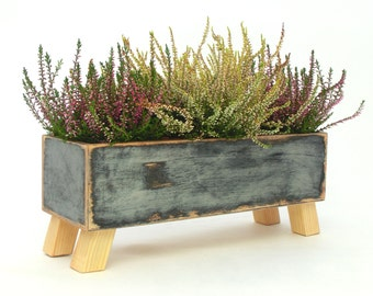 Wooden herb planter, Windowsill Flowerpot, Box for Herbs, Handmade box, Indoor herb garden, Trends for home decor, Winter home garden, Xmas