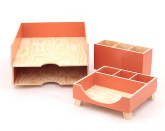 Orange Desk Organizer set, Desk Accessories for office, Paper tray, Office Desk 4 pcs set, Pen Holder, Orange Wood Desk Organizer, For him