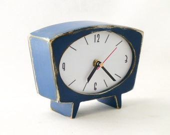 NO TICKING Desk Clock Blue, Navy blue table clock, SILENT Wood handmade Clock, Vintage 60s style Unique Clock blue, Office decor, for Mom