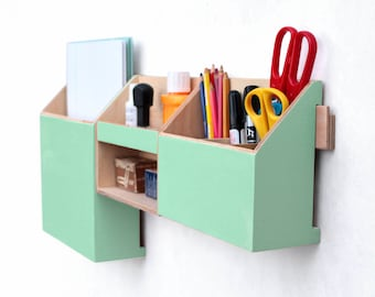 Wall organizer Mint Green, Wood Wall Set, Peppermint Desktop Organizer, Green Mint Office Desk Organizer, Pen Mail and Paper holder