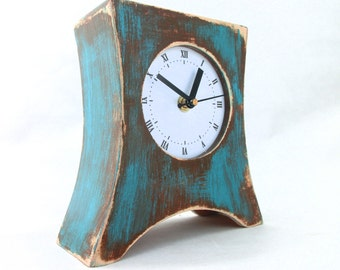 NO TICKING Brown Turquoise Table clock, Wood clock for Desk, Quiet /Silent Wooden desk Clock Arrow, Rustic clock, Turquoise home decor