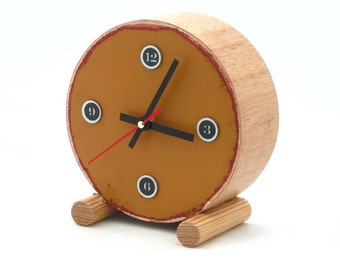 NO TICKING Clock circle drum, Mustard color, Silent clock, Desk clock, Wooden Silent / Quiet clock, Desk office decor