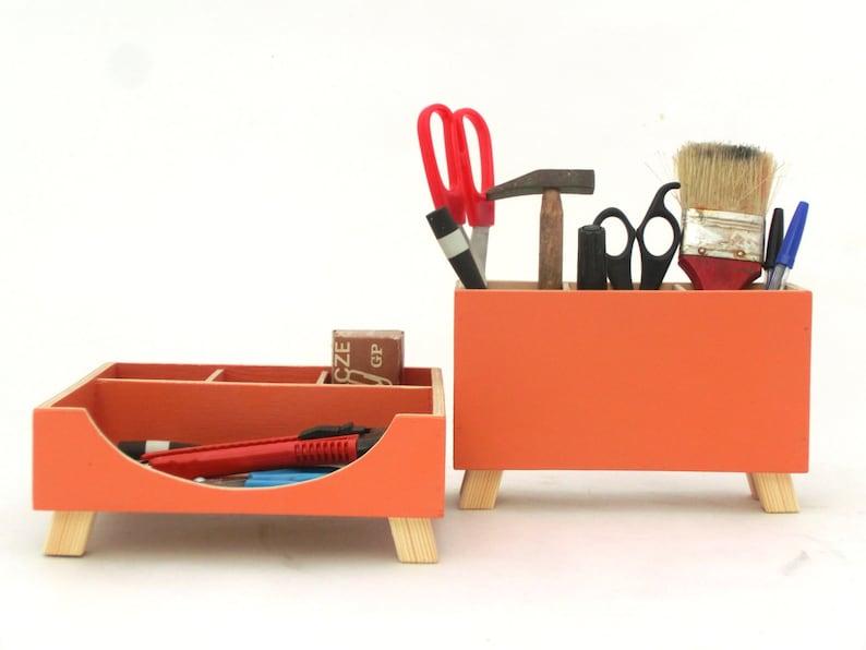 Orange organisateur de bureau set de bureau organisateur etsy