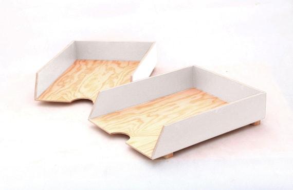 Białe Przyborniki Na Biurko 4 Częściowy Drewniany Organizer Do Biura Pudełka Z Drewna Tacki Na Dokumenty Sortowanie Dokumentów