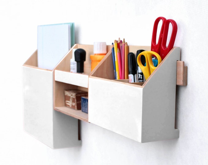 Featured listing image: Wood wall organizer White, Mail Organizer, Wall hanging Mail Holder, Pen holder, Home Office wall hanger, back to school,  Gift for office