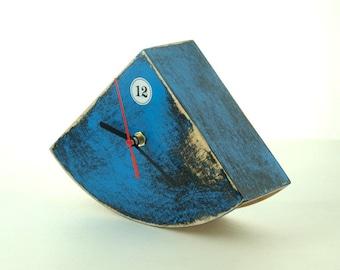 Blue Wood Desk Clock, Table hand painted clock, Cute gift ideas, Distressed Wood clock, Blue home decor, Blue black decor, Wedding gift