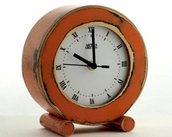 Desk Clock Orange, Circle Wooden Rusty Clock, Table Clock Tangerine, Distressed Mantel clock, Rusty home decor, Summer Europe trend