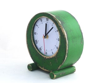 Desk Clock Circle Green, SILENT Table Clock, Rustic Table Wood Unique Clock, Spring cottage decor, Fathers day gift, NO TICKING mechanism